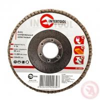 Диск шлифовальный лепестковый 125x22 мм, зерно K36 INTERTOOL BT-0203