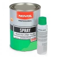 жидкая шпатлевка NOVOL SPRAY (1,2кг) с отвердителем (распыляемая)